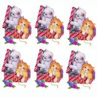 Christmas Kittens in a Christmas Parcel Card Toppers