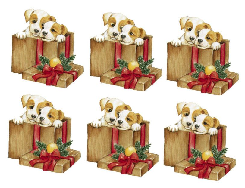 Christmas Puppies in a Christmas Parcel Card Toppers