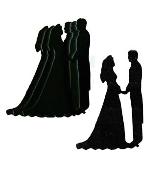 Black Silhouette Bride and Groom Craft Shapes - Larger Size x 10