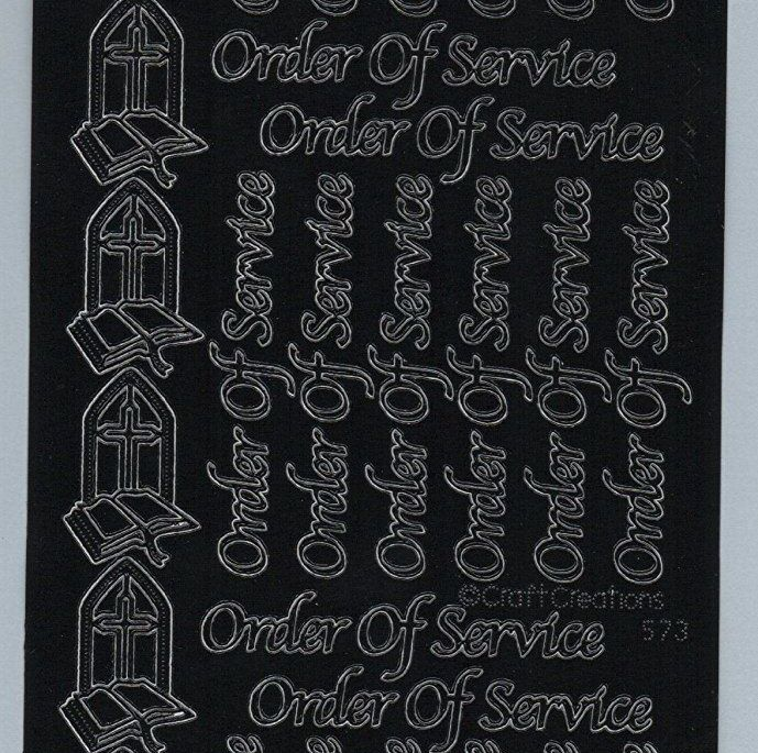 Black Order of Service Peel Off Stickers