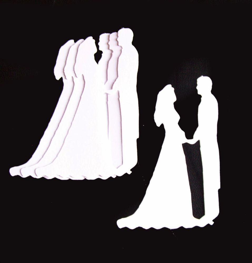White Silhouette Bride and Groom Craft Shapes - Larger size x 10