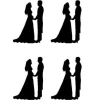 Black Silhouette Bride and Groom Craft Embellishments x 20