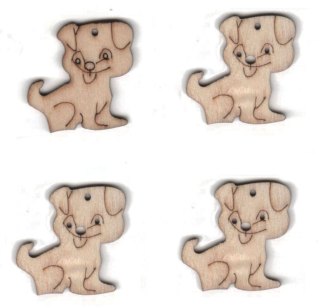Wooden Dogs Natural Embellishments