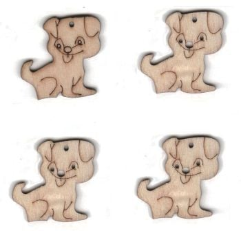 Wooden Dogs Natural Embellishments x 4