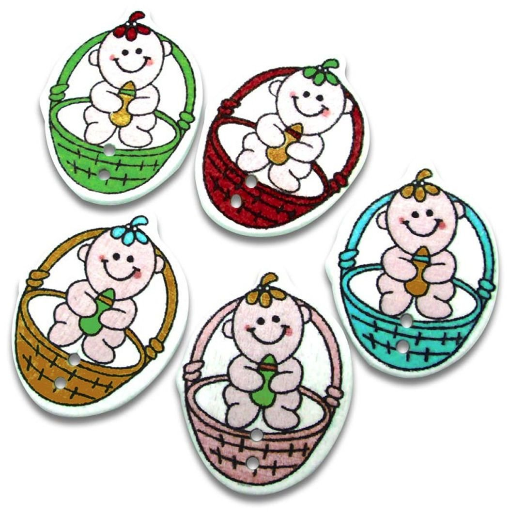 Baby In A Basket Wooden Embellishments x 10