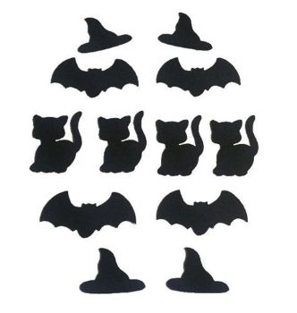 Halloween Shapes in Black Craft Embellishments x 12