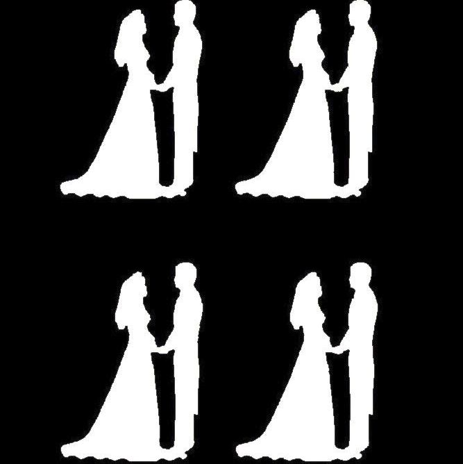White Silhouette Bride and Groom Craft Embellishments