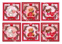 Valentines Day Characters Card Toppers in Red and Pink