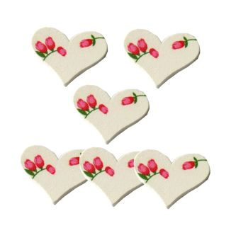 Wooden White Floral Hearts Embellishments x 10