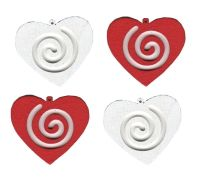 Red and White Wooden Hearts Embellishments x 20
