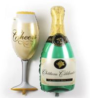 Champagne Bottle and Glass Foil Balloons - Large Size