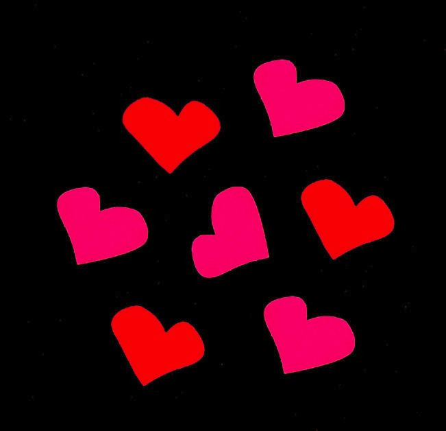 Heart Shaped Red and Neon Pink Embellishments