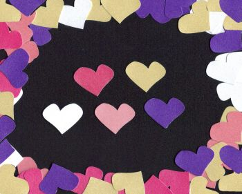 Heart Shaped Embellishments in purples and pinks