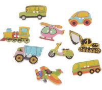 Wooden Transport Button Embellishments x 10