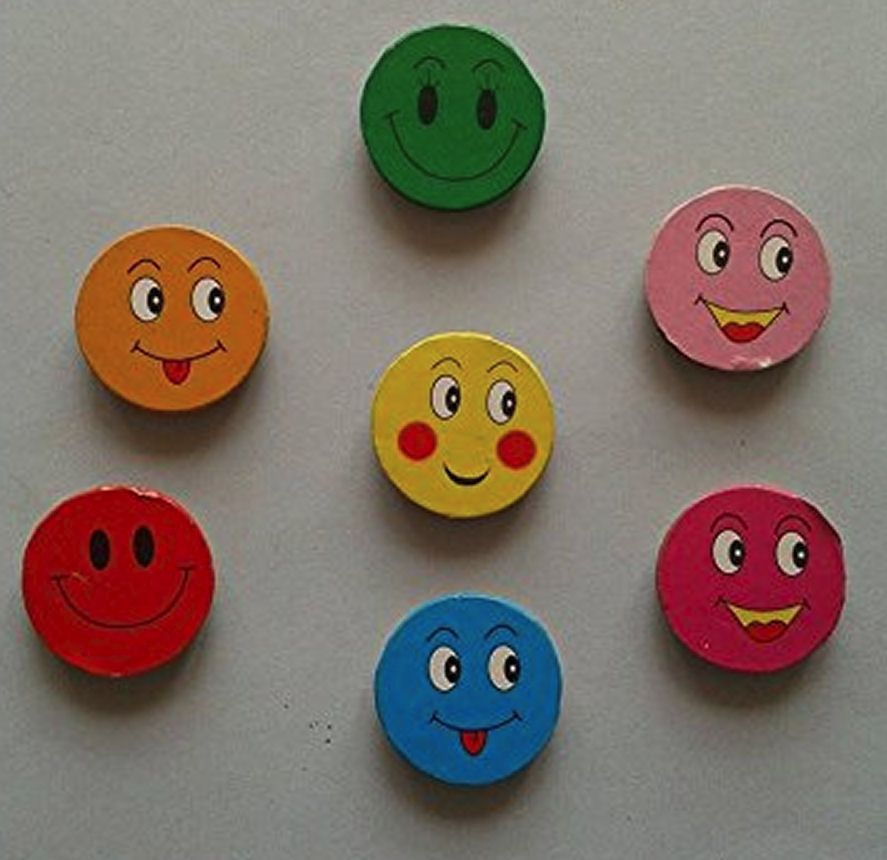 Smiley Faces Wooden Craft Embellishments x 10