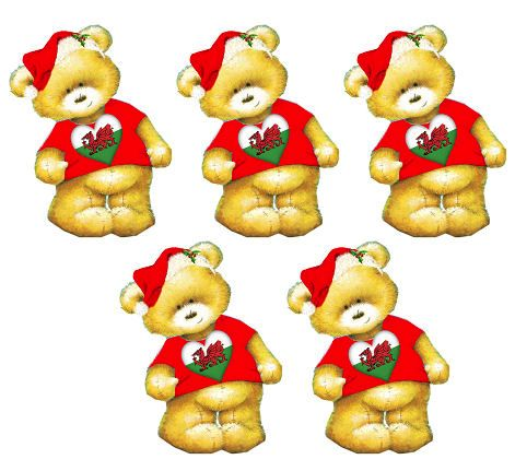 Welsh Christmas Teddy Bear Toppers