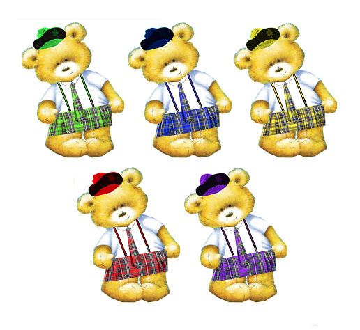 Scottish Kilt Teddy Bear Card Toppers