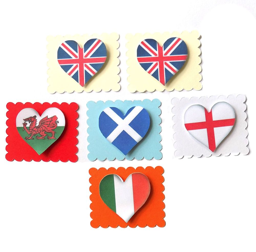 Great Britain Flag Heart Card Making Toppers
