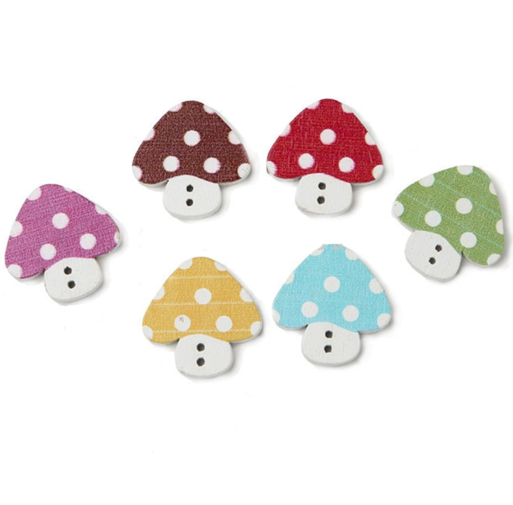 Mushroom Wooden Craft Button Embellishments x 4