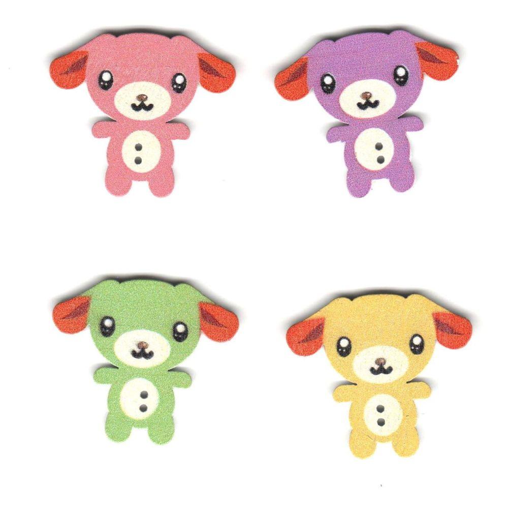 Teddy Bear Wooden Craft Button Embellishments x 4