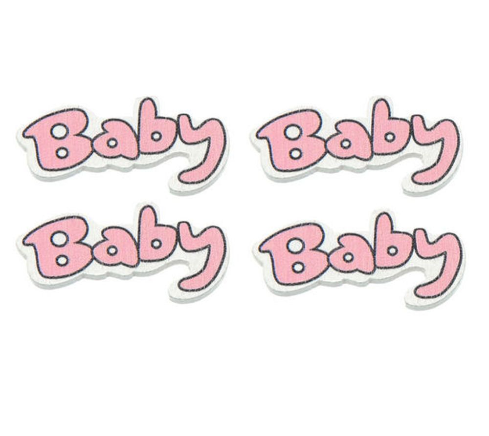 Pink and White Baby Word Wooden Embellishments