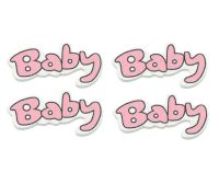 Pink and White Baby Word Wooden Embellishments x 4