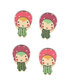 Russian Doll Wooden Craft Embellishments x 4