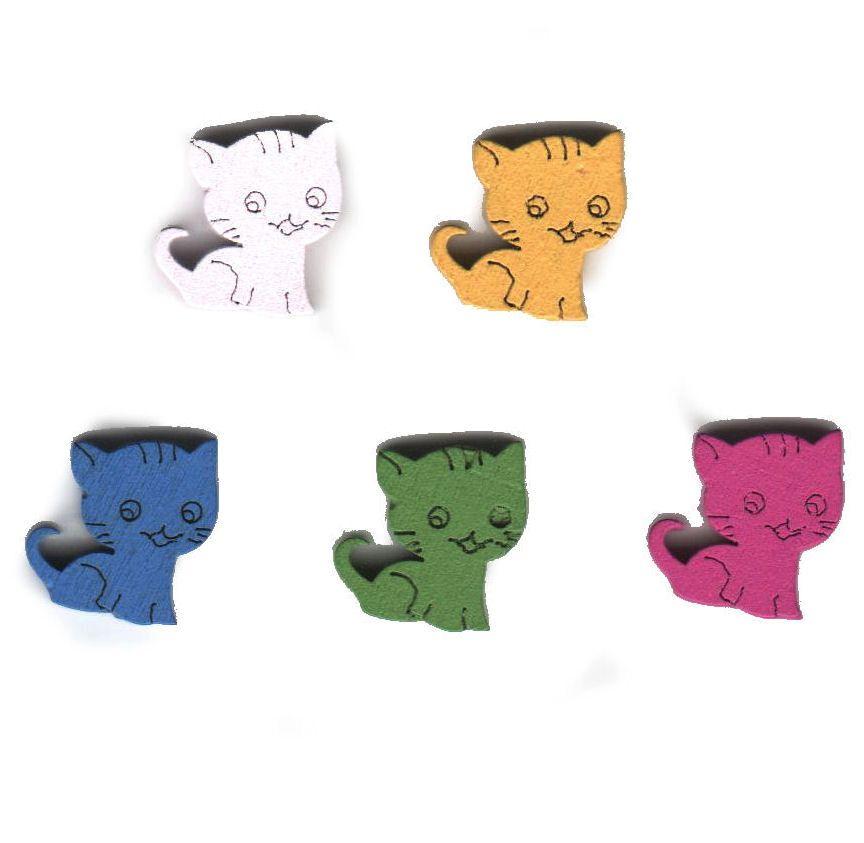 Mini Cats Wooden Craft Embellishments x 5