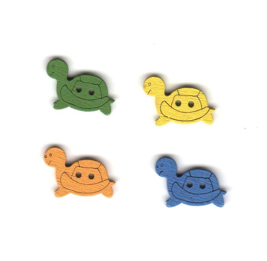 Mini Tortoise Wooden Craft Embellishments x 4