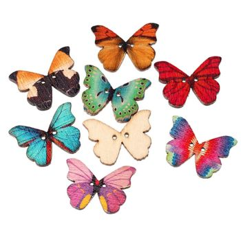 Painted Butterfly Wooden Craft Embellishments x 4