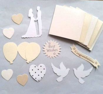 Cream, Ivory and White Wedding Assorted Die Cut Embellishments