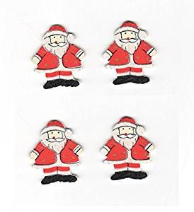 Glittered Santa Wooden Embellishments
