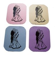Bride and Groom Flat Card Making Toppers - Pastel
