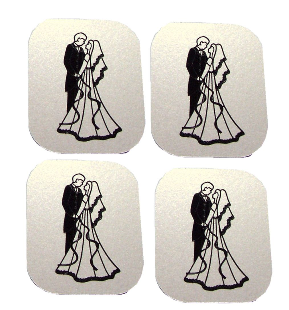 Bride and Groom Flat Card Making Toppers - Cream