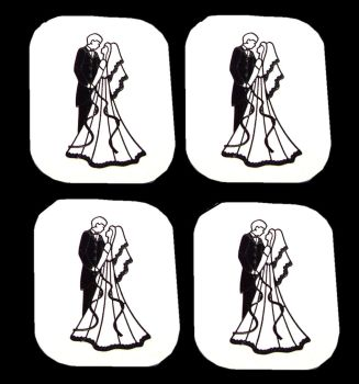 Bride and Groom Flat Card Making Toppers - White