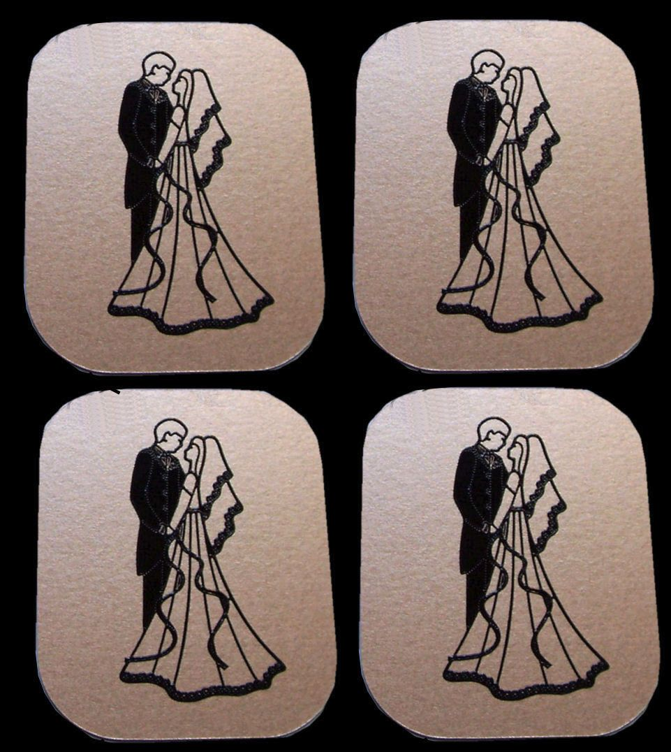 Bride and Groom Flat Card Making Toppers - Gold