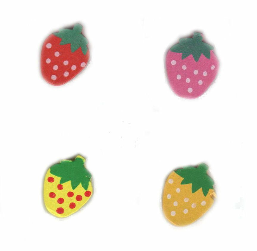 Strawberry Themed  Wooden Embellishments x 4