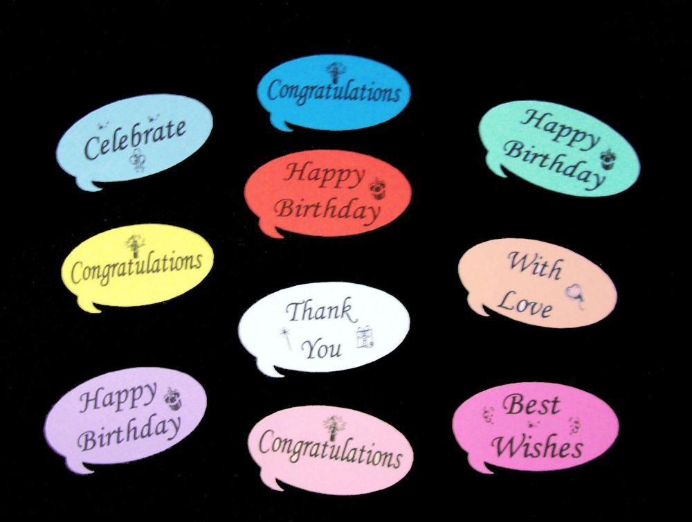 Speech Bubbles Embellishments Various Sentiments