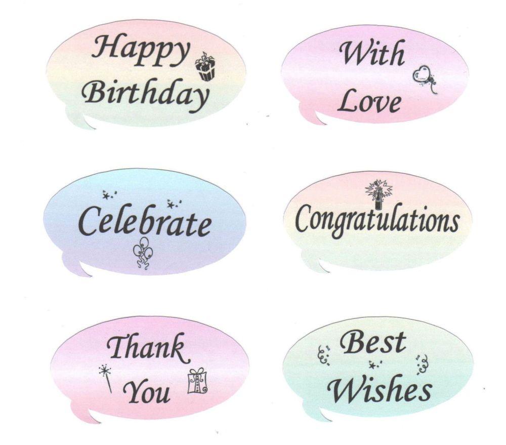 Speech Bubbles Embellishments Various Sentiments - Pastel