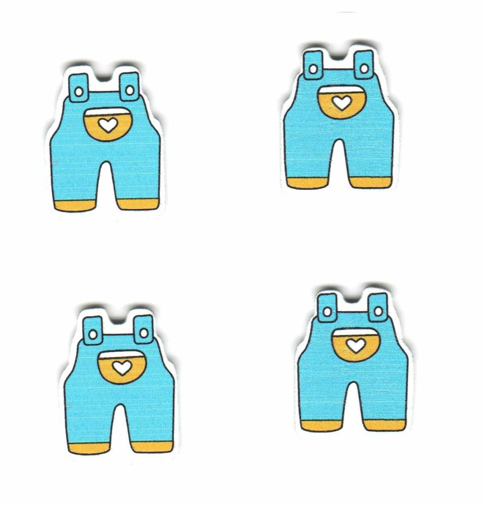 Baby Blue Dungarees  Wooden Embellishments x 4