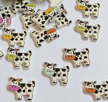 Cow Wooden Craft Embellishments x 10