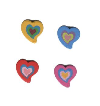 Wooden Retro Style Heart Embellishments x 4