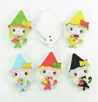 Pixie Witch Wooden Bead Style Embellishments x 4