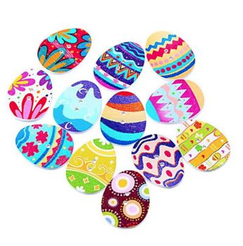 Wooden Easter Egg Button Embellishments x 5