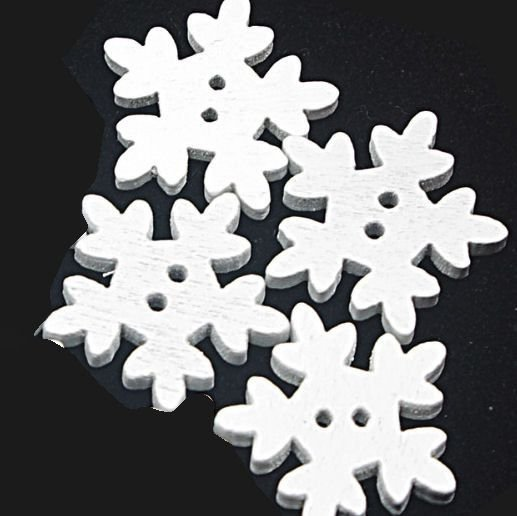 Snowflakes White Wooden Embellishments x 4