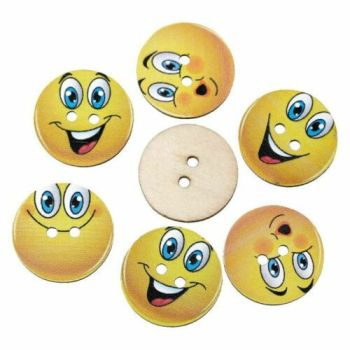 Emoji Smiley Faces Wooden Button Embellishments x 10