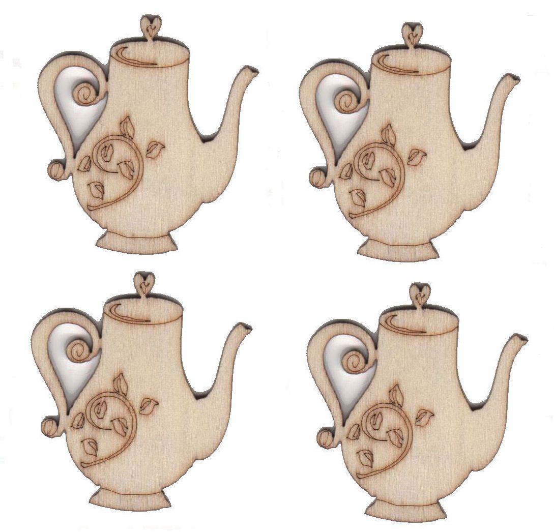 Wooden Teapots Natural Embellishments x 4