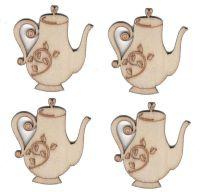 Wooden Teapot Natural Embellishments x 4