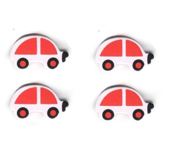 Pink Wooden Cars Embellishments x 5