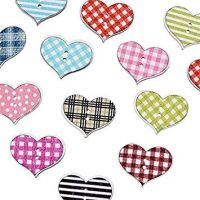 Wooden Patterned Hearts Button Embellishments x 10